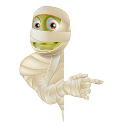Halloween mummy pointing vector