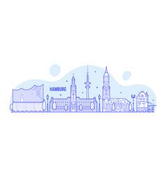 hamburg skyline germany city buildings vector image