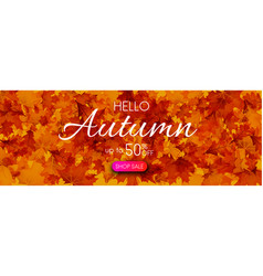 Hello autumn 50 sale promo banner with golden vector