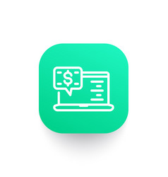 internet banking line icon on green shape vector image
