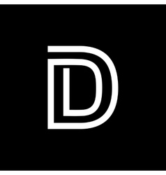 Letter D From the white interwoven strips vector