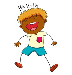 Little boy laughing on white vector