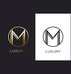 logo m monogram gold letter seal mockup elegant vector image