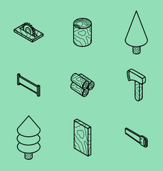 Lumberjack flat outline isometric set vector