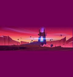 Magic portal on alien planet space landscape vector
