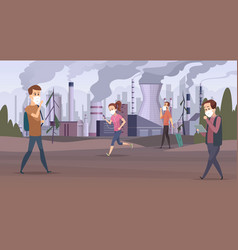 mask pollution smog in city urban factory sad vector image