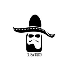 mexican logo with man head in sombrero vector image