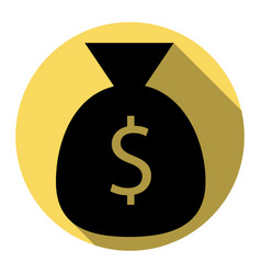 money bag sign flat black vector image