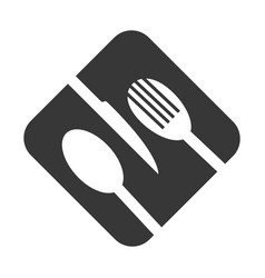 Monochrome square frame with cutlery vector