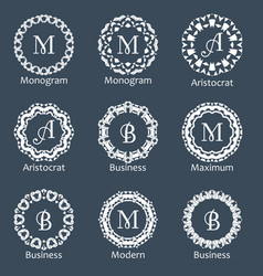 Monogram template elegant design for identity vector