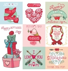 Mothers day cards setLabels heartsdecor vector