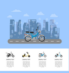 Motor scooter on road poster in flat style vector