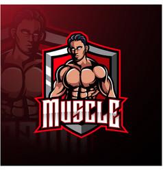 muscular man mascot logo design vector image