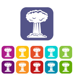 Mushroom cloud icons set flat vector