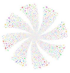 Music notes fireworks swirl flower vector