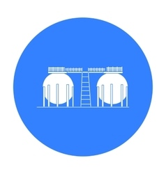 Oil refinery tank icon in black style isolated on vector