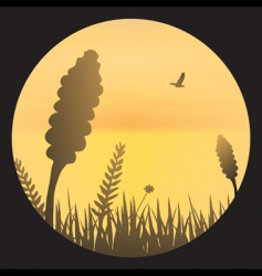 orange sky with barley silhouette vector image