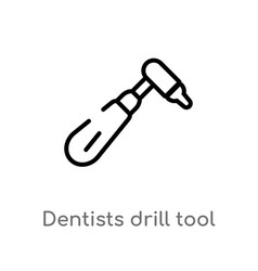 outline dentists drill tool icon isolated black vector image