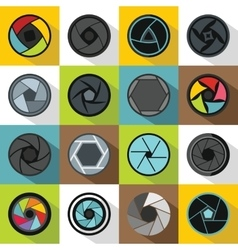 Photo diaphragm icons set flat style vector image