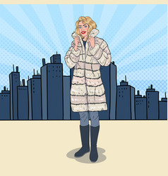 Pop art beautiful woman posing in warm fur coat vector