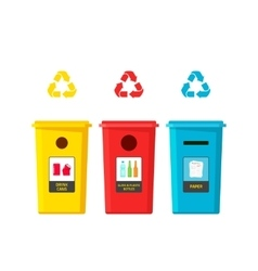Recycling bins isolated on vector