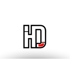 Red and black alphabet letter hd h d logo vector