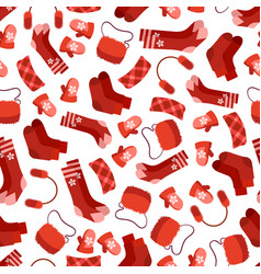 red winter accessorises seamless pattern vector image