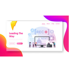 Reportage landing page template tiny reporter vector