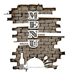 restaurant menu in the of brick wall white vector image