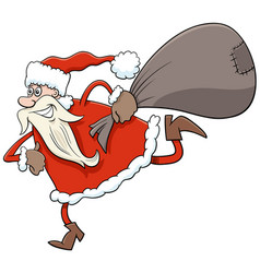 running santa claus christmas character with sack vector image