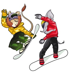 Savannah animals on snowboard vector image