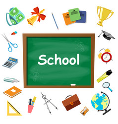 school supplies symbols isolated vector image