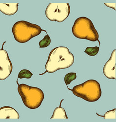 seamless pattern with hand drawn colored pears vector image