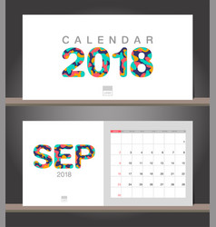 september 2018 calendar desk calendar modern vector image