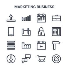 Set 16 marketing business concept line icons vector