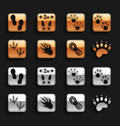 Set alligator crocodile footprint paw bear paw vector