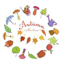 set autumn color doodle icons vector image