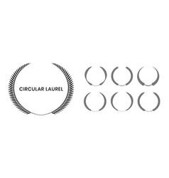 Set black silhouette circular laurel foliate vector