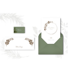 set classic card template with floral and vector image