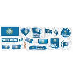 Set flags american state south vector
