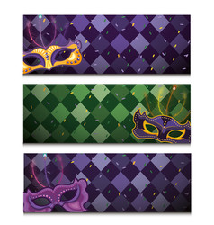 set mardi gras card with masks decoration vector image