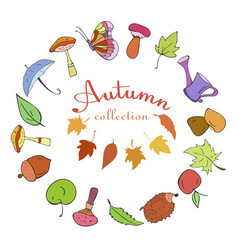 set of autumn color doodle icons vector image