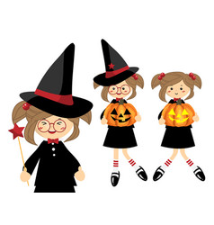 Set of little halloween witch vector