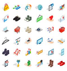Shopping bag icons set isometric style vector
