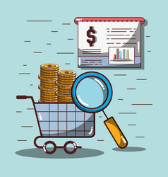 shopping car with coins and statistics documents vector image