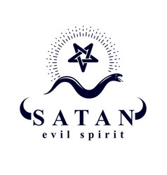 Snake created with a pentacle symbol satan vector