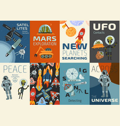 Space cards set vector