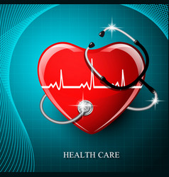 Stethoscope medical equipment and heart shape vector