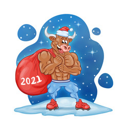 Strong muscular cartoon bull with a huge red bag vector
