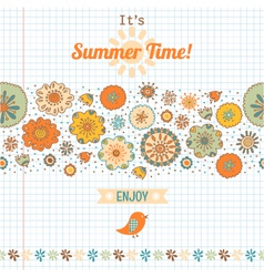summer set flowers and labels banner vector image